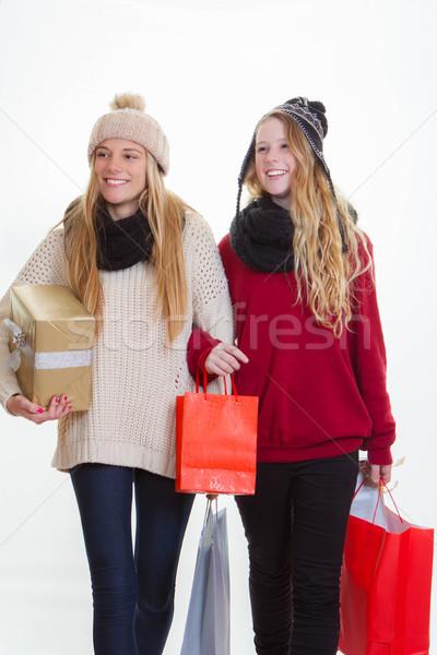 teen girls shopping for gifts Stock photo © godfer
