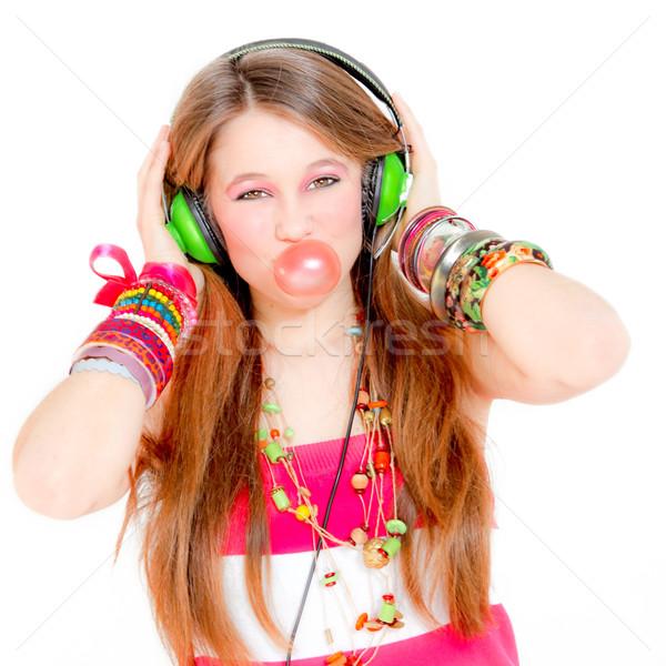 Funky nina escuchar música burbuja goma Foto stock © godfer