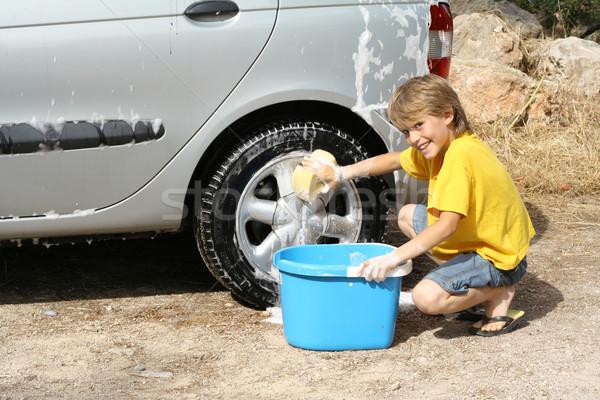 Enfant lavage voiture aider enfants Photo stock © godfer