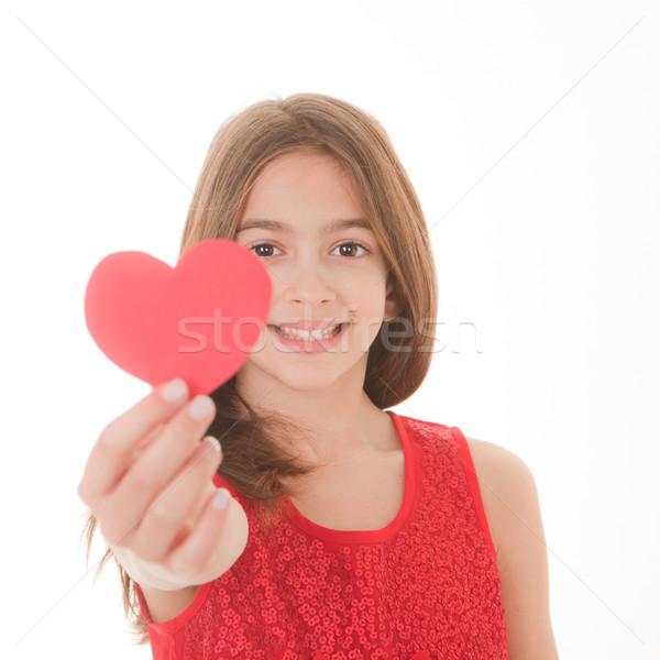Valentin nap lány fókusz arc szeretet gyerekek Stock fotó © godfer