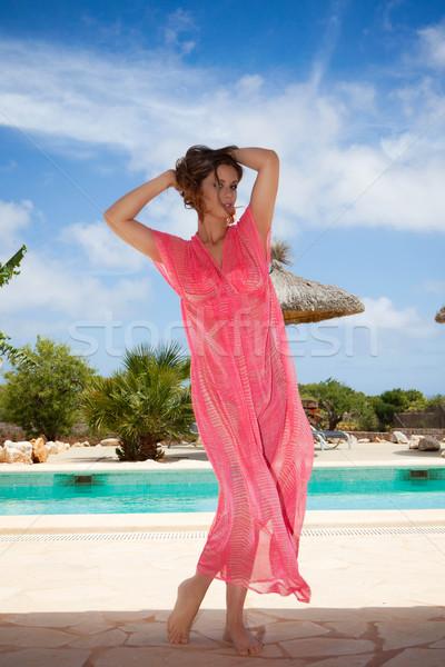Vacances d'été femme piscine heureux beauté été Photo stock © godfer