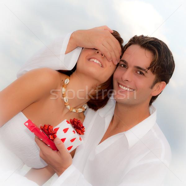 Heureux mariage anniversaire engagement cadeaux Photo stock © godfer
