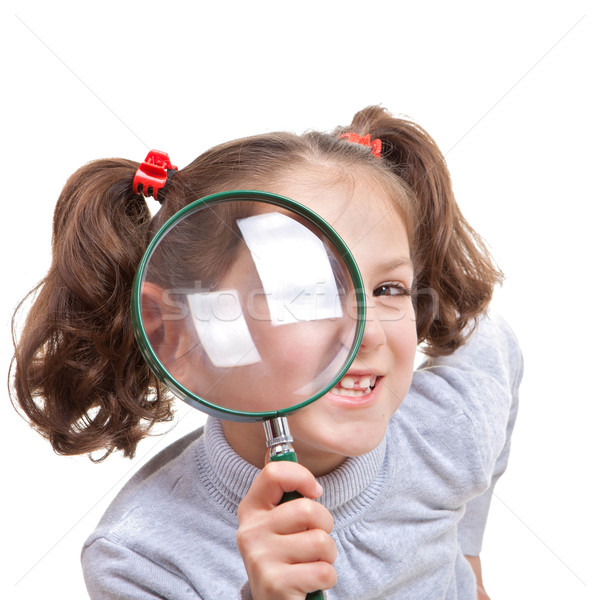 Enfant loupe espion verre fille oeil Photo stock © godfer