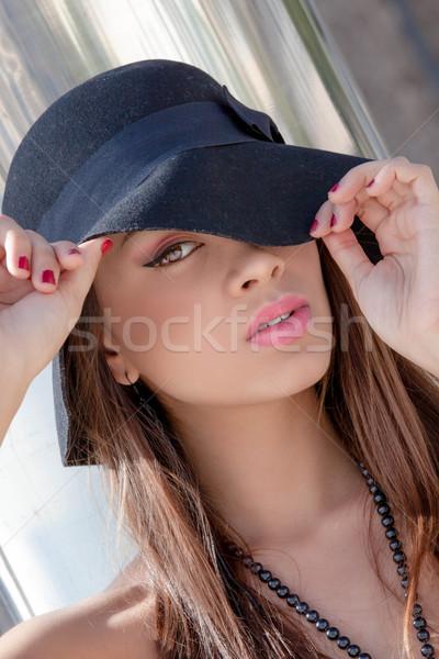 Divat nő kalap smink hibátlan bőr Stock fotó © godfer