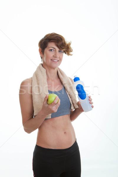 Stock fotó: Egészséges · fitt · középkorú · nő · sport · test · alma