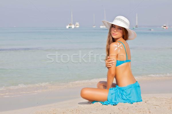 Menina férias férias mallorca Espanha mulher Foto stock © godfer