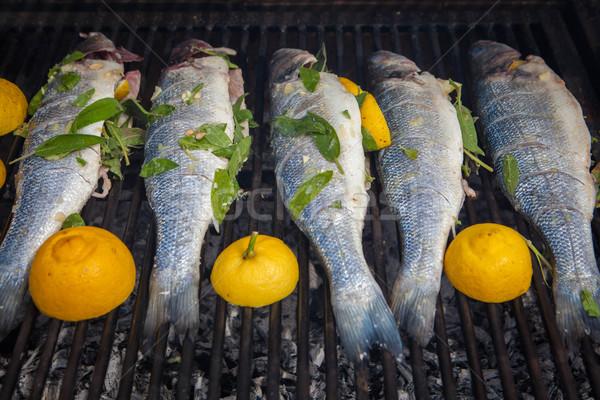 grilled organic fish Stock photo © godfer