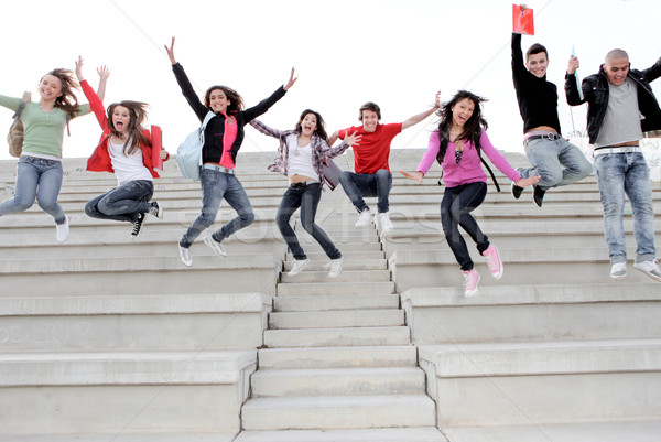Happy university or high school children happy at end of term Stock photo © godfer