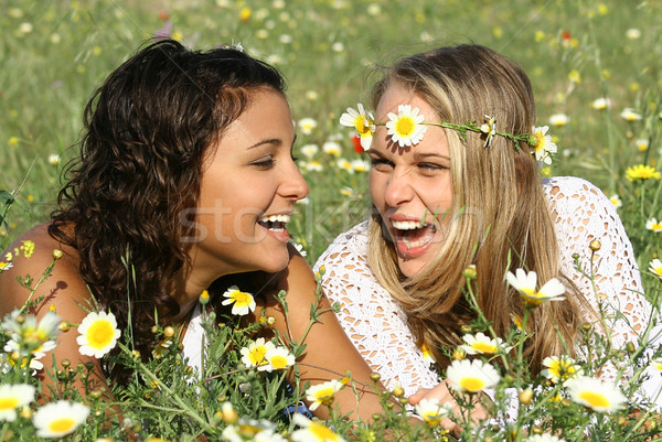 happy girls laughing with perfect white straight teeth Stock photo © godfer