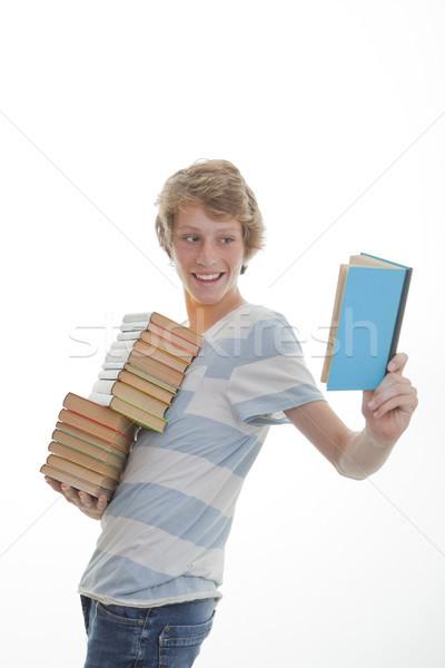 Stock fotó: Könyv · diák · boglya · könyvek · oktatás · tini
