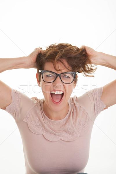 Frustré femme mains tête femmes cheveux Photo stock © godfer