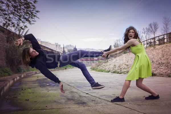 Femenino violencia enojado lucha nina hombre Foto stock © godfer