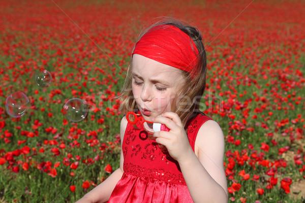 Nyár gyermek buborékfújás lány tavasz gyerekek Stock fotó © godfer