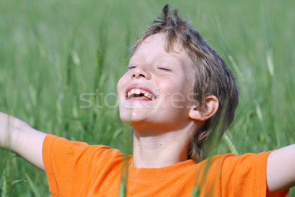 happy smiling child arms outstretched eyes closed enjoying the summer sun Stock photo © godfer