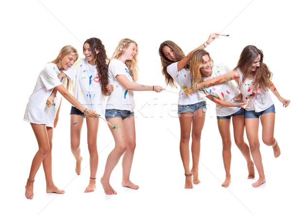 Grup çocuklar yaz kampı boya kız Stok fotoğraf © godfer