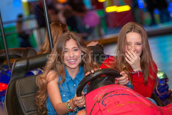 Gençler eğlence adil binicilik kız mutlu Stok fotoğraf © godfer