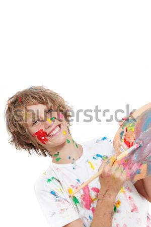 child with paint brush Stock photo © godfer
