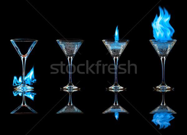 Koktél szett tűz gyűjtemény izolált fekete Stock fotó © goinyk