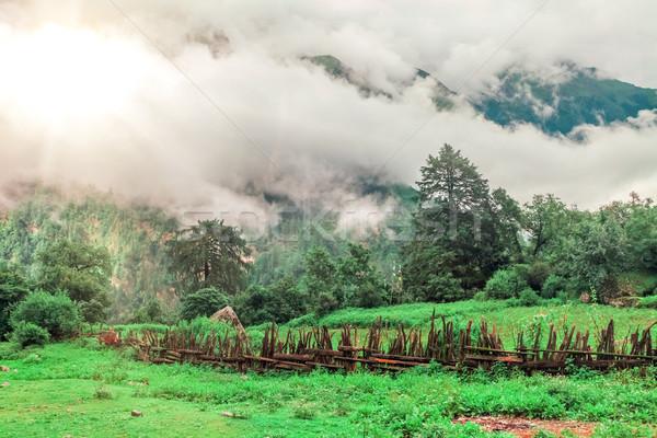 Stock fotó: Trekking · Nepál · gyönyörű · tájkép · Himalája · hegyek