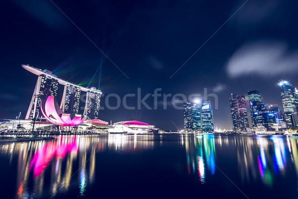 Singapore nacht stad zee donkere Stockfoto © goinyk