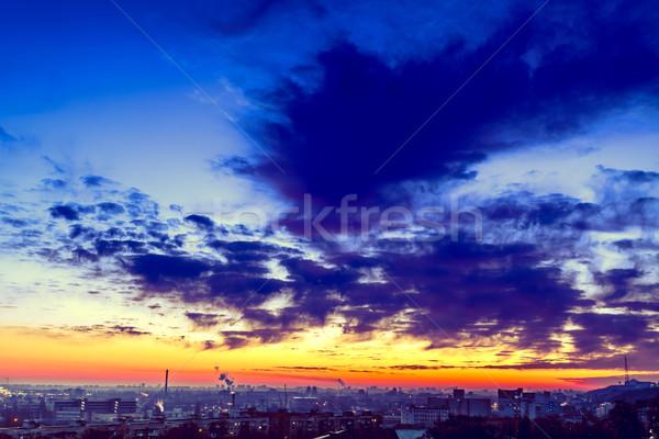 Narancs naplemente felhő városkép Ukrajna Európa Stock fotó © goinyk