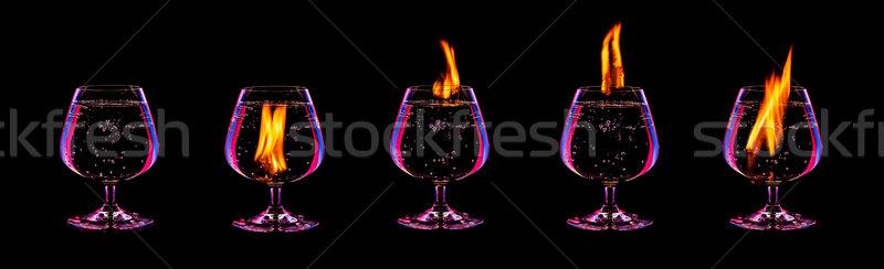 Tűz koktél gyűjtemény izolált fekete buli Stock fotó © goinyk
