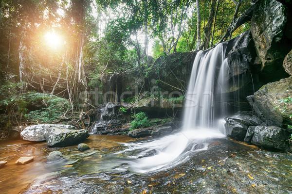 Vízesés Kambodzsa gyönyörű természet fa nap Stock fotó © goinyk
