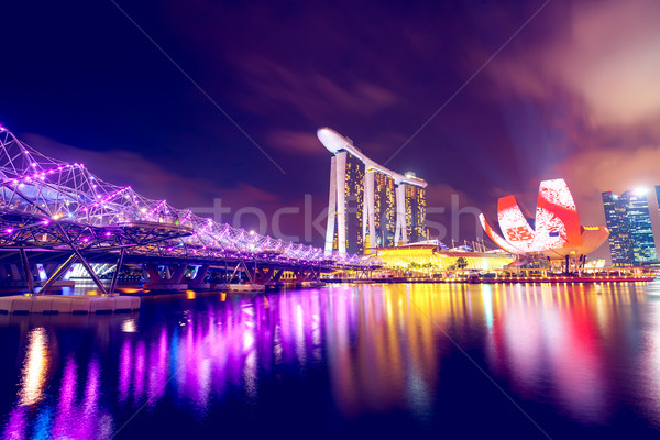 Singapour nuit ville urbaine sombre Photo stock © goinyk
