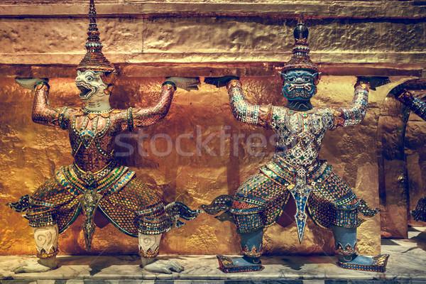 Demônio guardião palácio Bangkok viajar ouro Foto stock © goinyk