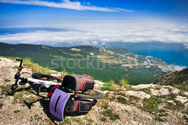 Bike over the precipice Stock photo © goinyk