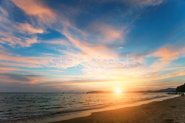 Tropikal gün batımı plaj krabi Tayland güneş Stok fotoğraf © goinyk