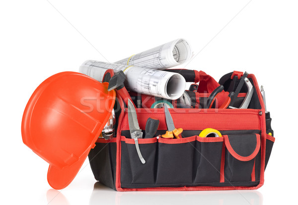 Toolbox, hardhat and blueprints Stock photo © goir
