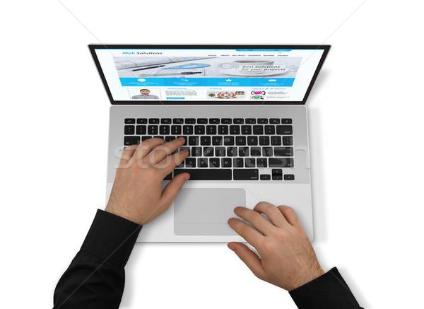 Werken laptop rechtstreeks boven man Stockfoto © goir