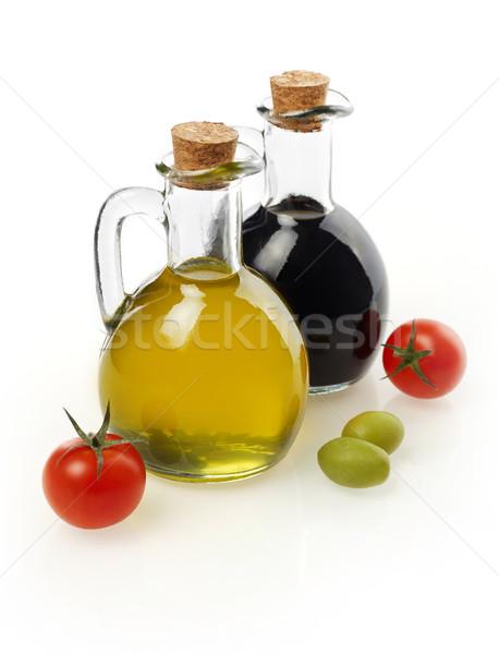Szűz olaj ecet paradicsomok bazsalikom izolált Stock fotó © goir