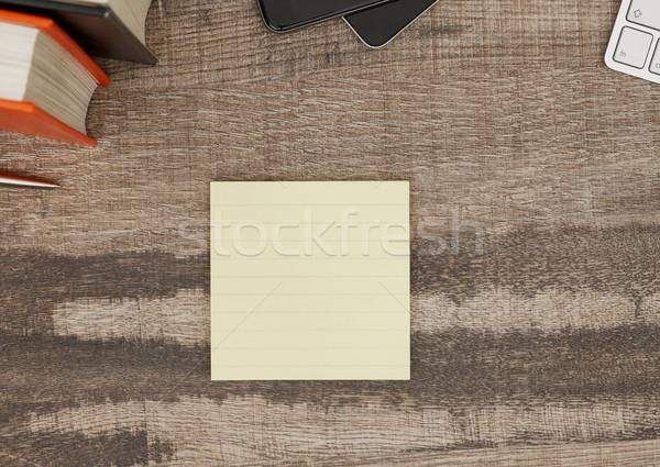 ストックフォト: 接着剤 · 注記 · デスク · 木製 · 紙 · 図書