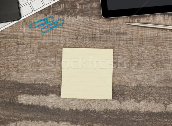 клей сведению столе бумаги карандашом Сток-фото © goir