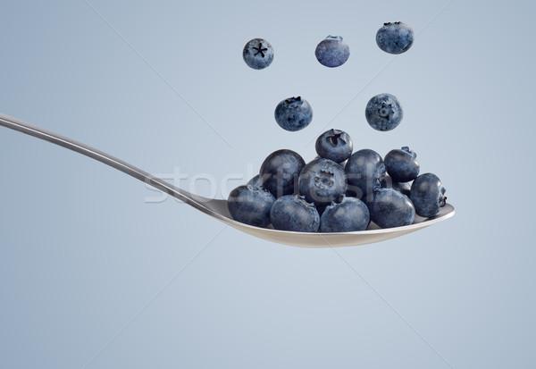 ストックフォト: スプーン · ブルーベリー · フルーツ · 運動 · 食事 · 写真