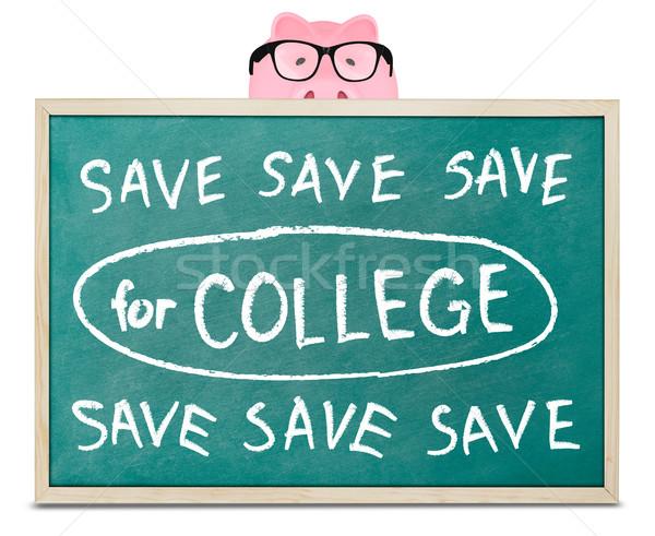 Piggy bank salvar faculdade mensagem lousa óculos Foto stock © goir