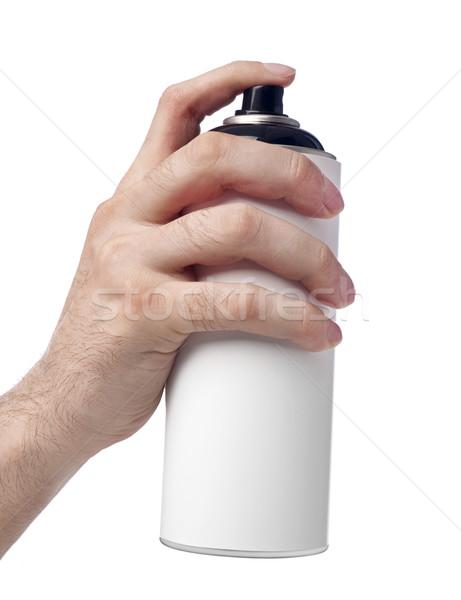 Spray konzerv kéz tart fehér Stock fotó © goir