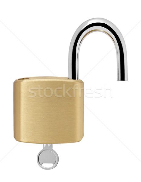 Candado clave aislado blanco metal seguridad Foto stock © goir
