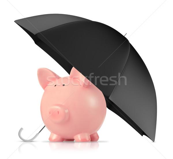 Photo stock: Assurance · tirelire · parapluie · blanche · affaires · sécurité