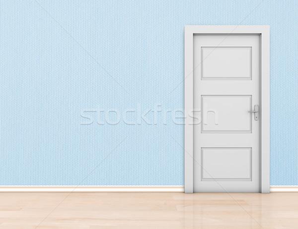 Photo stock: Chambre · fermé · porte · bleu · propre · modernes