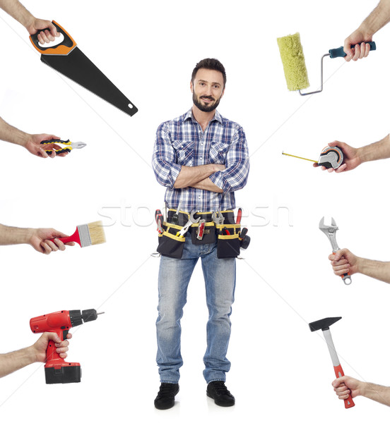 Handyman with tools Stock photo © goir