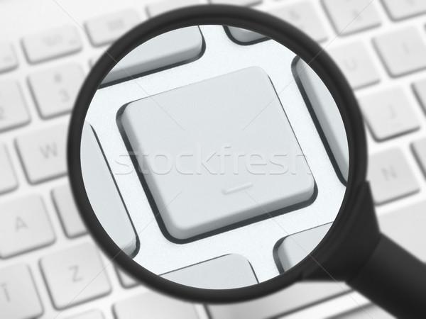 Nagyító számítógép billentyűzet számítógép technológia felirat adat Stock fotó © goir