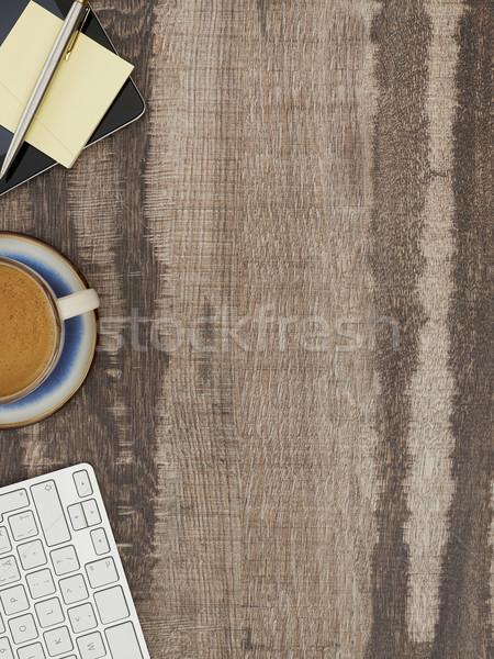 Mesa de escritório diretamente acima ver trabalhando tabela Foto stock © goir