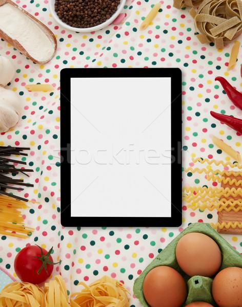 Numérique comprimé pâtes ingrédients espace de copie alimentaire Photo stock © goir