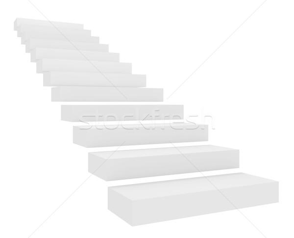 Escalier isolé blanche design horizons ombre Photo stock © goir