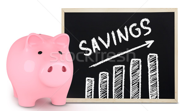 Piggy bank poupança traçar salvar mensagem lousa Foto stock © goir