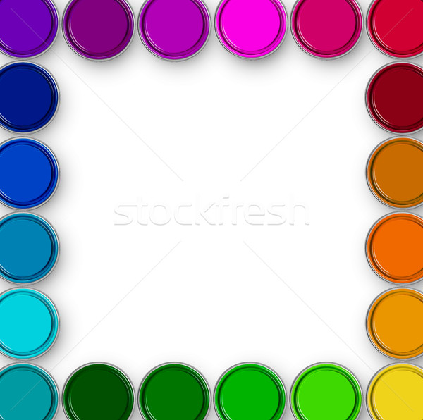 塗料 フレーム 青 色 ストックフォト © goir