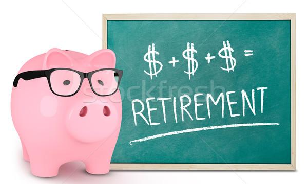 Piggy bank and retirement message Stock photo © goir